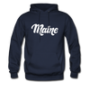 Maine Hoodie - Hand Lettered Unisex Maine Hooded Sweatshirt - navy