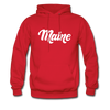 Maine Hoodie - Hand Lettered Unisex Maine Hooded Sweatshirt - red