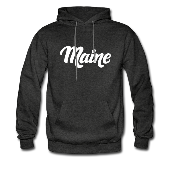 Maine Hoodie - Hand Lettered Unisex Maine Hooded Sweatshirt - charcoal gray
