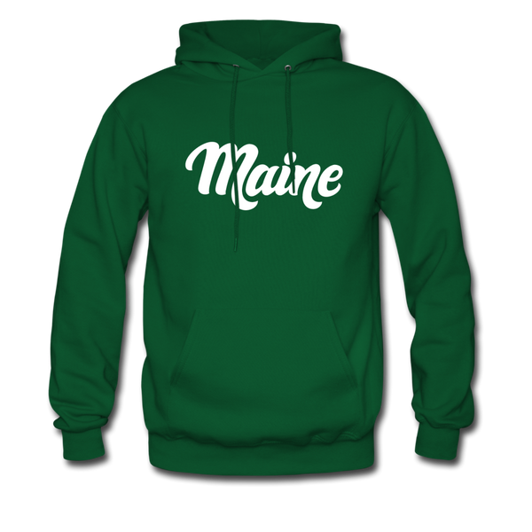 Maine Hoodie - Hand Lettered Unisex Maine Hooded Sweatshirt - forest green