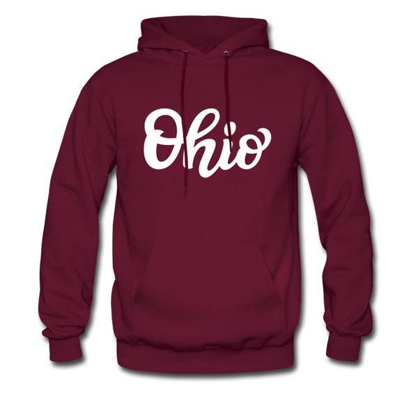Ohio Hoodie - Hand Lettered Unisex Ohio Hooded Sweatshirt - burgundy