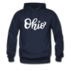 Ohio Hoodie - Hand Lettered Unisex Ohio Hooded Sweatshirt - navy