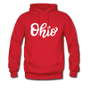 Ohio Hoodie - Hand Lettered Unisex Ohio Hooded Sweatshirt - red