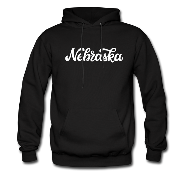 Nebraska Hoodie - Hand Lettered Unisex Nebraska Hooded Sweatshirt - black