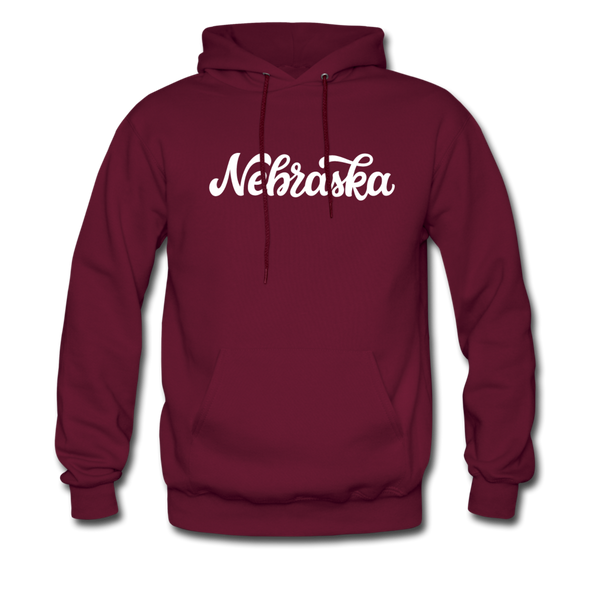 Nebraska Hoodie - Hand Lettered Unisex Nebraska Hooded Sweatshirt - burgundy