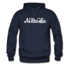 Nebraska Hoodie - Hand Lettered Unisex Nebraska Hooded Sweatshirt - navy