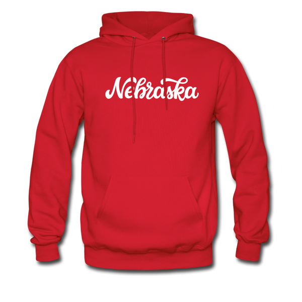Nebraska Hoodie - Hand Lettered Unisex Nebraska Hooded Sweatshirt - red
