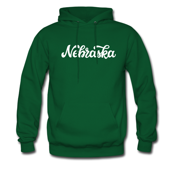 Nebraska Hoodie - Hand Lettered Unisex Nebraska Hooded Sweatshirt - forest green