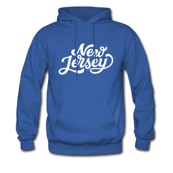 New Jersey Hoodie - Hand Lettered Unisex New Jersey Hooded Sweatshirt - royal blue