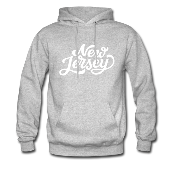 New Jersey Hoodie - Hand Lettered Unisex New Jersey Hooded Sweatshirt - heather gray