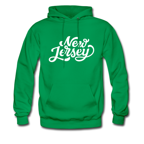 New Jersey Hoodie - Hand Lettered Unisex New Jersey Hooded Sweatshirt - kelly green