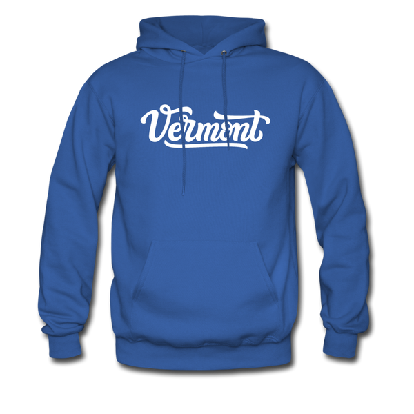 Vermont Hoodie - Hand Lettered Unisex Vermont Hooded Sweatshirt - royal blue