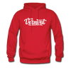 Vermont Hoodie - Hand Lettered Unisex Vermont Hooded Sweatshirt - red