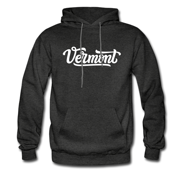 Vermont Hoodie - Hand Lettered Unisex Vermont Hooded Sweatshirt - charcoal gray