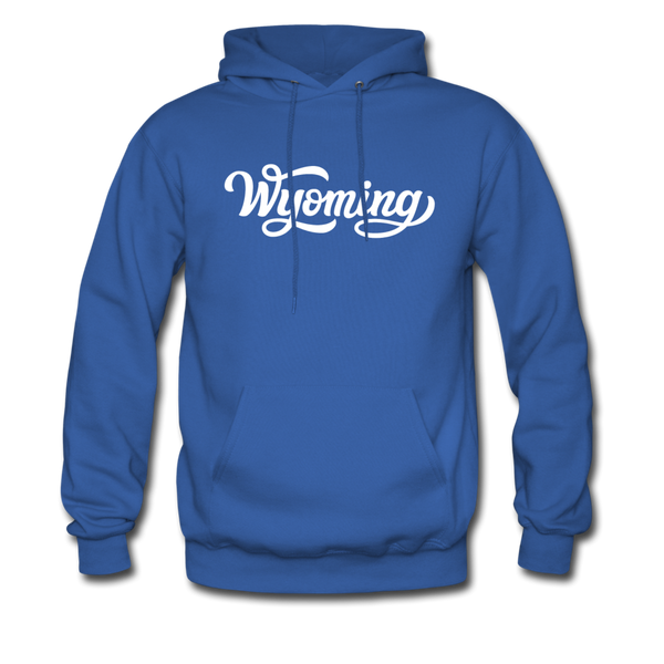 Wyoming Hoodie - Hand Lettered Unisex Wyoming Hooded Sweatshirt - royal blue