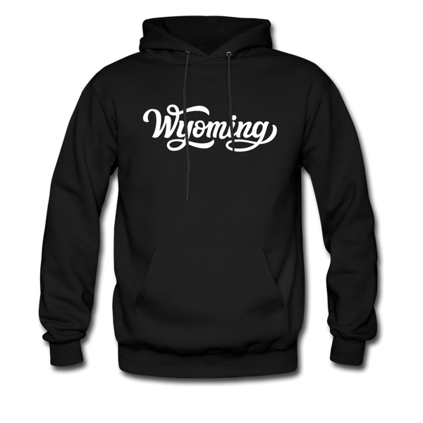 Wyoming Hoodie - Hand Lettered Unisex Wyoming Hooded Sweatshirt - black
