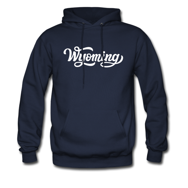 Wyoming Hoodie - Hand Lettered Unisex Wyoming Hooded Sweatshirt - navy