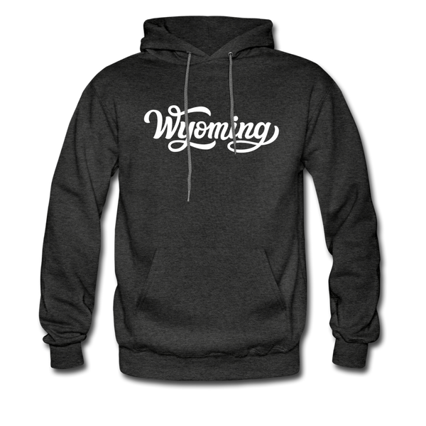 Wyoming Hoodie - Hand Lettered Unisex Wyoming Hooded Sweatshirt - charcoal gray