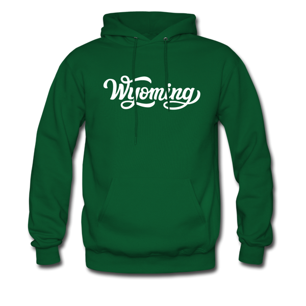 Wyoming Hoodie - Hand Lettered Unisex Wyoming Hooded Sweatshirt - forest green