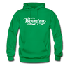 Wyoming Hoodie - Hand Lettered Unisex Wyoming Hooded Sweatshirt - kelly green