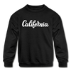 California Youth Sweatshirt - Hand Lettered Youth California Crewneck Sweatshirt - black