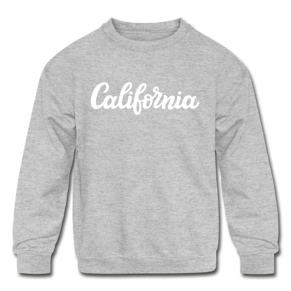 California Youth Sweatshirt - Hand Lettered Youth California Crewneck Sweatshirt - heather gray