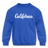 California Youth Sweatshirt - Hand Lettered Youth California Crewneck Sweatshirt - royal blue