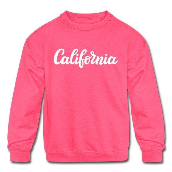 California Youth Sweatshirt - Hand Lettered Youth California Crewneck Sweatshirt - neon pink