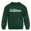 California Youth Sweatshirt - Hand Lettered Youth California Crewneck Sweatshirt - forest green