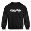 Delaware Youth Sweatshirt - Hand Lettered Youth Delaware Crewneck Sweatshirt - black