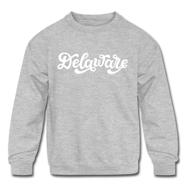 Delaware Youth Sweatshirt - Hand Lettered Youth Delaware Crewneck Sweatshirt - heather gray