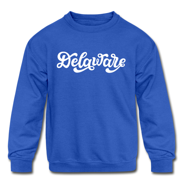 Delaware Youth Sweatshirt - Hand Lettered Youth Delaware Crewneck Sweatshirt - royal blue