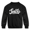 Iowa Youth Sweatshirt - Hand Lettered Youth Iowa Crewneck Sweatshirt - black