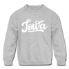 Iowa Youth Sweatshirt - Hand Lettered Youth Iowa Crewneck Sweatshirt - heather gray