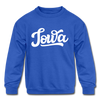 Iowa Youth Sweatshirt - Hand Lettered Youth Iowa Crewneck Sweatshirt - royal blue