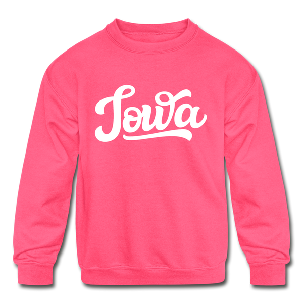 Iowa Youth Sweatshirt - Hand Lettered Youth Iowa Crewneck Sweatshirt - neon pink