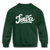 Iowa Youth Sweatshirt - Hand Lettered Youth Iowa Crewneck Sweatshirt - forest green