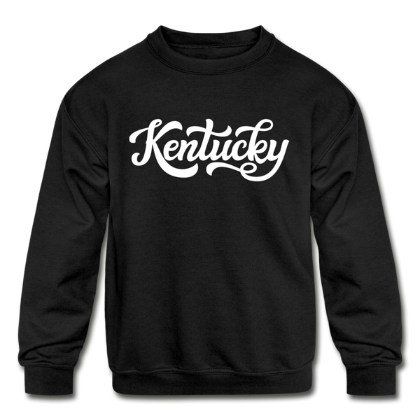 Kentucky Youth Sweatshirt - Hand Lettered Youth Kentucky Crewneck Sweatshirt - black