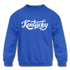 Kentucky Youth Sweatshirt - Hand Lettered Youth Kentucky Crewneck Sweatshirt - royal blue