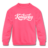 Kentucky Youth Sweatshirt - Hand Lettered Youth Kentucky Crewneck Sweatshirt - neon pink