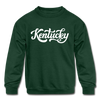 Kentucky Youth Sweatshirt - Hand Lettered Youth Kentucky Crewneck Sweatshirt - forest green