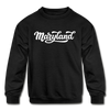 Maryland Youth Sweatshirt - Hand Lettered Youth Maryland Crewneck Sweatshirt - black