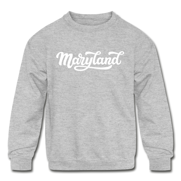 Maryland Youth Sweatshirt - Hand Lettered Youth Maryland Crewneck Sweatshirt - heather gray