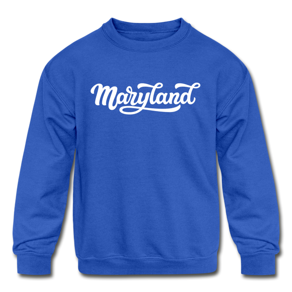 Maryland Youth Sweatshirt - Hand Lettered Youth Maryland Crewneck Sweatshirt - royal blue