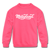 Maryland Youth Sweatshirt - Hand Lettered Youth Maryland Crewneck Sweatshirt - neon pink