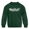 Maryland Youth Sweatshirt - Hand Lettered Youth Maryland Crewneck Sweatshirt - forest green