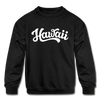 Hawaii Youth Sweatshirt - Hand Lettered Youth Hawaii Crewneck Sweatshirt - black