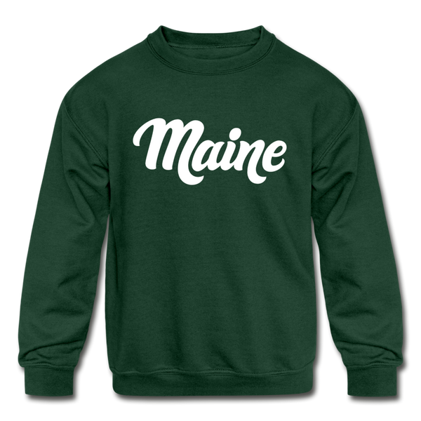 Maine Youth Sweatshirt - Hand Lettered Youth Maine Crewneck Sweatshirt - forest green