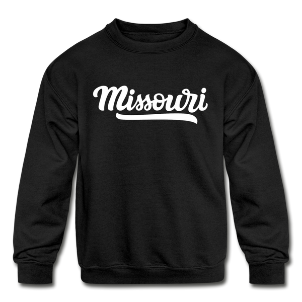 Missouri Youth Sweatshirt - Hand Lettered Youth Missouri Crewneck Sweatshirt - black