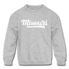Missouri Youth Sweatshirt - Hand Lettered Youth Missouri Crewneck Sweatshirt - heather gray